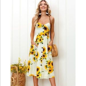 Spaghetti Strap Midi Sunflower Dress